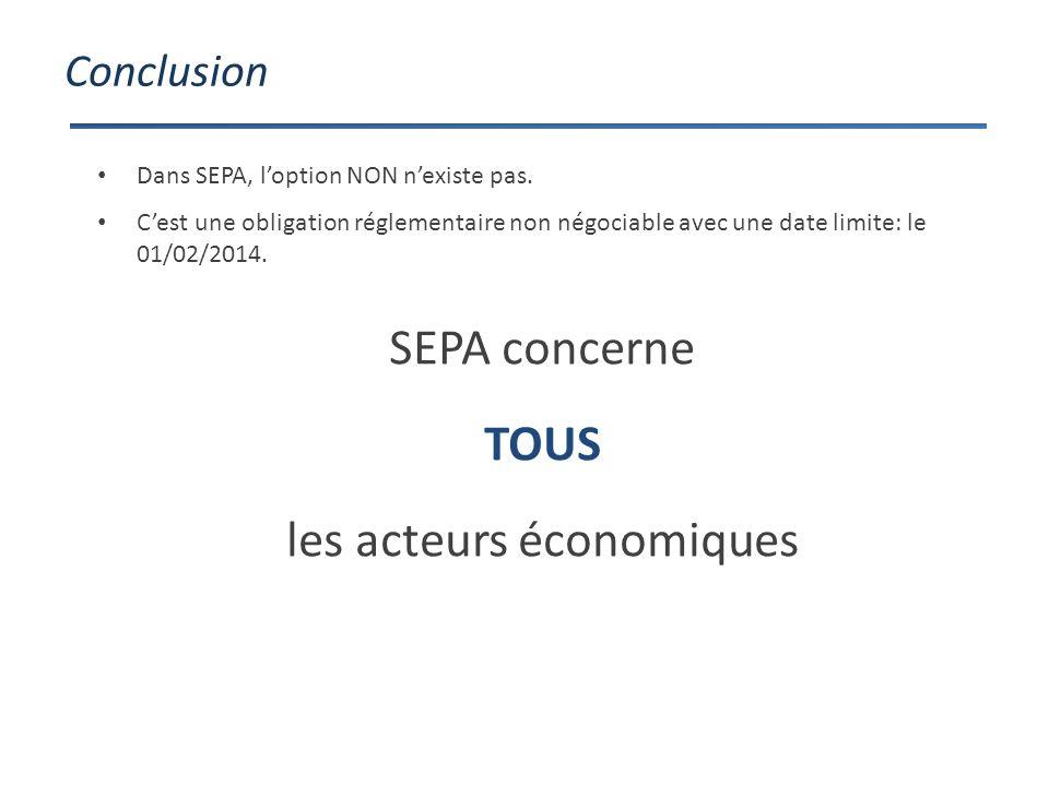 Conclusion SEPA concerne TOUS les acteurs économiques Dans SEPA, loption NON nexiste pas.