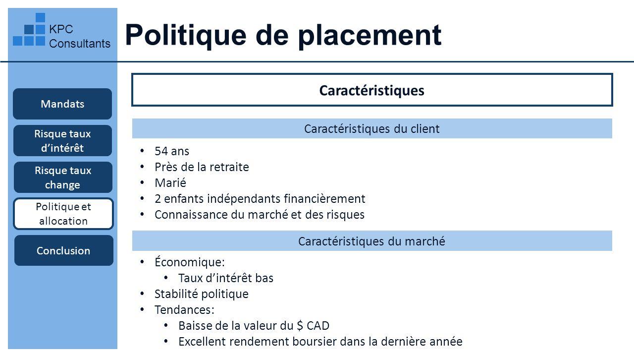 Politique de placement KPC Consultants Mandats Risque taux dintérêt Risque taux change Politique et allocation Conclusion Caractéristiques Caractérist