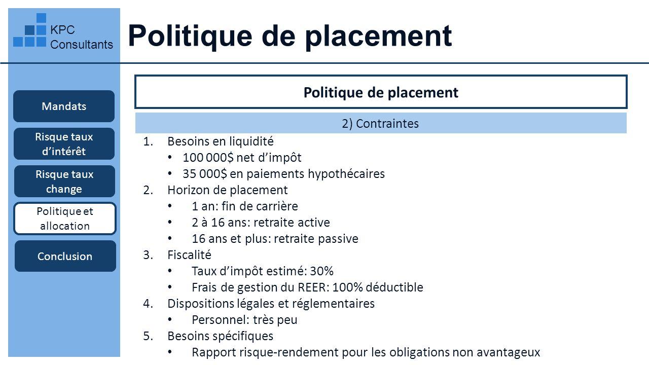 Politique de placement KPC Consultants Mandats Risque taux dintérêt Risque taux change Politique et allocation Conclusion Politique de placement 2) Co