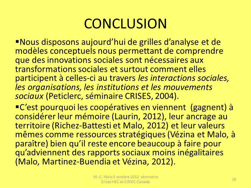 CONCLUSION Nous disposons aujourdhui de grilles danalyse et de modèles conceptuels nous permettant de comprendre que des innovations sociales sont néc