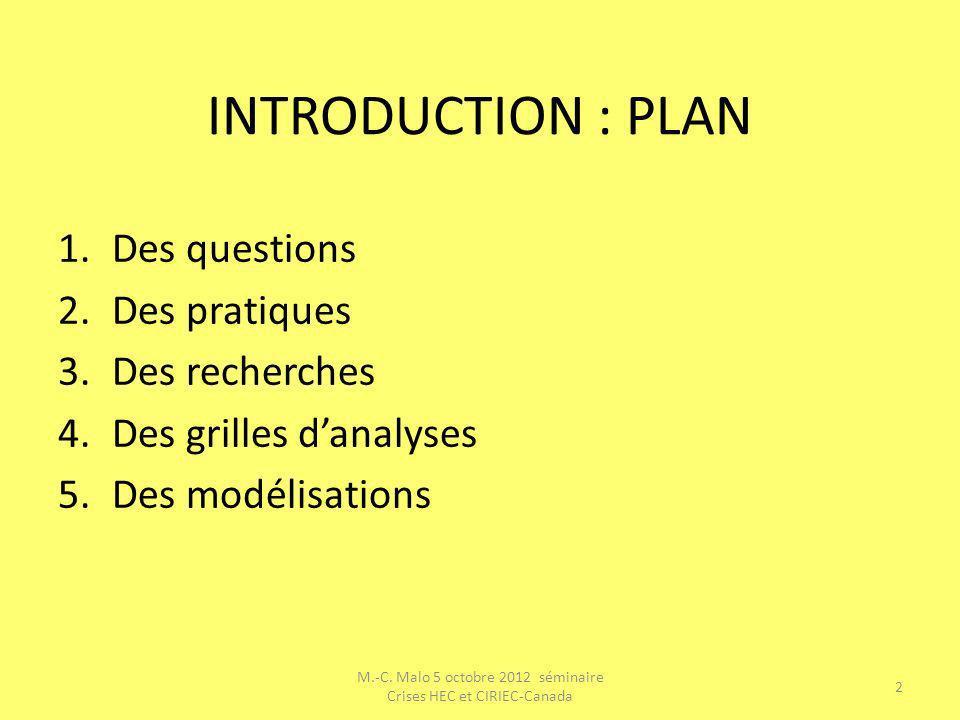INTRODUCTION : PLAN 1.Des questions 2.Des pratiques 3.Des recherches 4.Des grilles danalyses 5.Des modélisations M.-C. Malo 5 octobre 2012 séminaire C