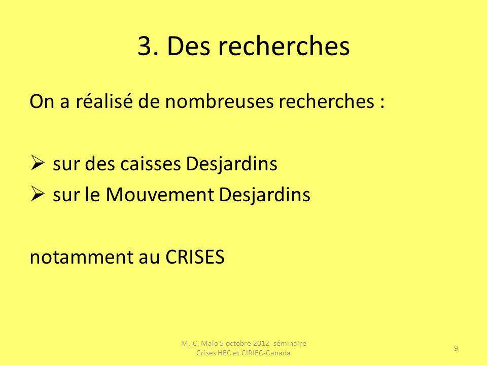 3. Des recherches On a réalisé de nombreuses recherches : sur des caisses Desjardins sur le Mouvement Desjardins notamment au CRISES M.-C. Malo 5 octo