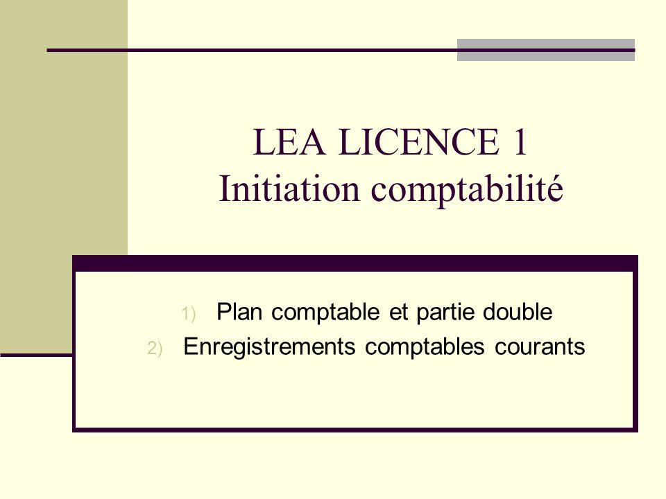 LEA LICENCE 1 Initiation comptabilité 1) Plan comptable et partie double 2) Enregistrements comptables courants