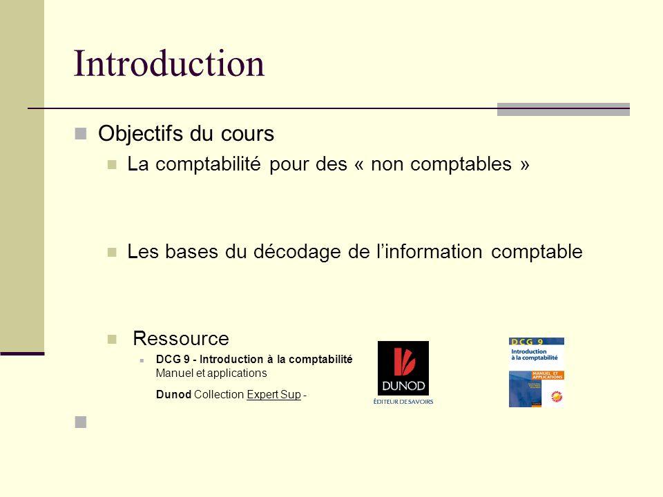 Introduction Objectifs du cours La comptabilité pour des « non comptables » Les bases du décodage de linformation comptable Ressource DCG 9 - Introduc