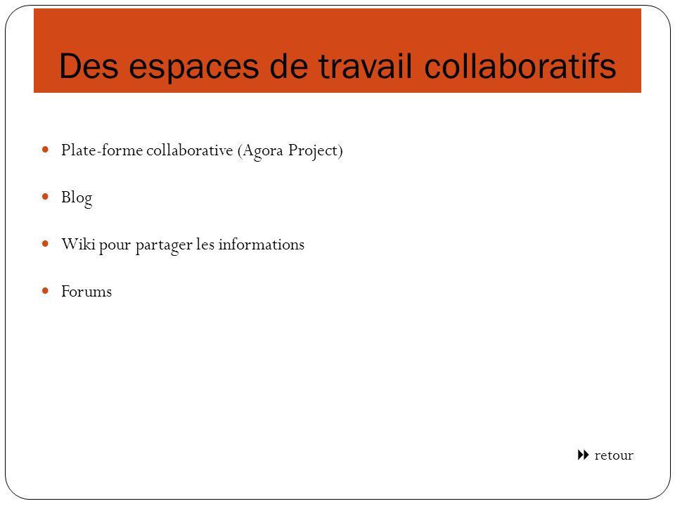 Des espaces de travail collaboratifs Plate-forme collaborative (Agora Project) Blog Wiki pour partager les informations Forums retour