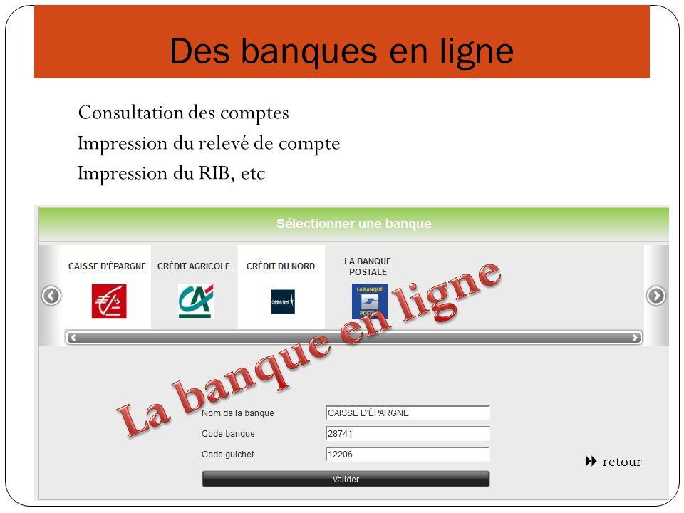 Des banques en ligne Consultation des comptes Impression du relevé de compte Impression du RIB, etc retour