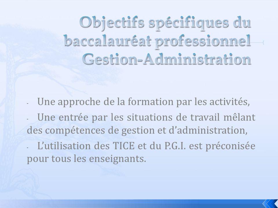 - Une approche de la formation par les activités, - Une entrée par les situations de travail mêlant des compétences de gestion et dadministration, - Lutilisation des TICE et du P.G.I.