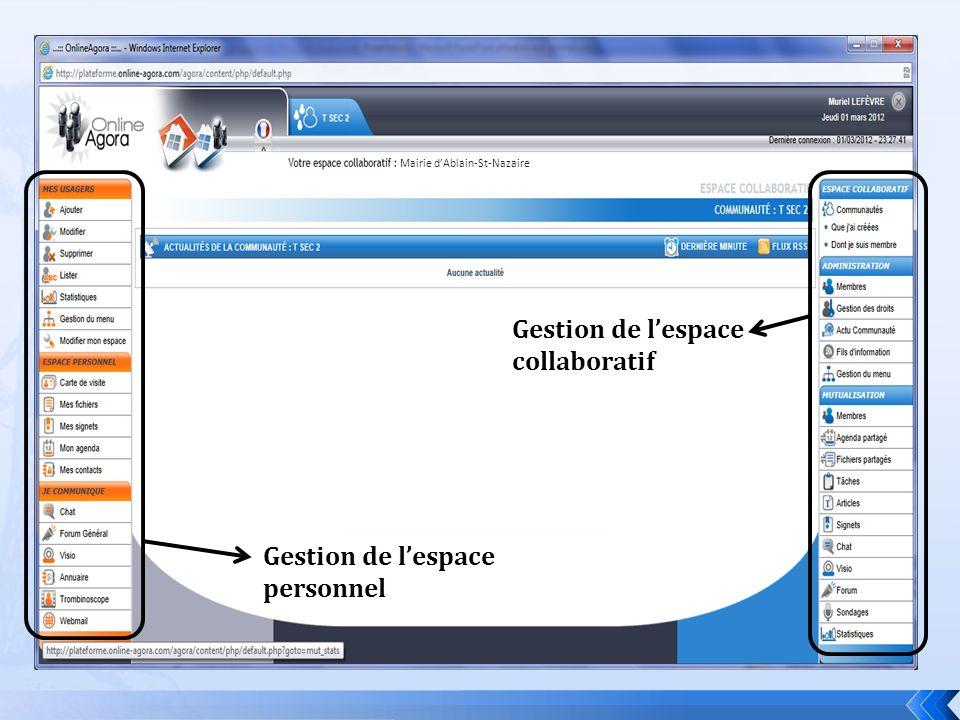 Gestion de lespace personnel Gestion de lespace collaboratif Mairie dAblain-St-Nazaire