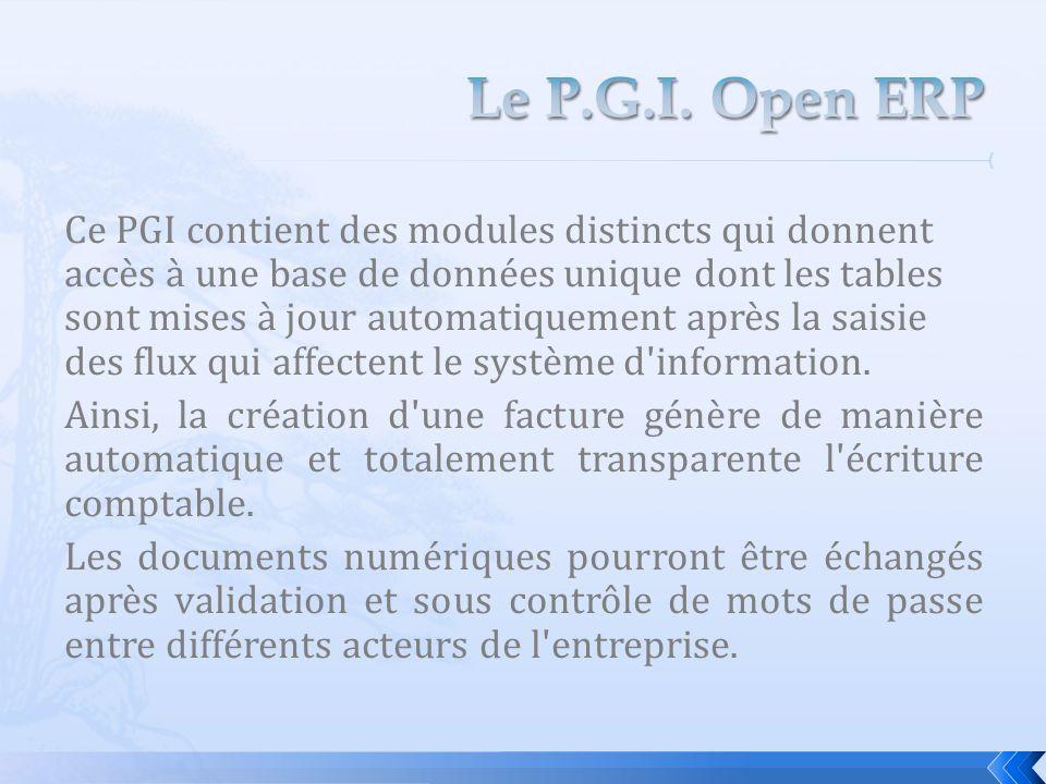 Ce PGI contient des modules distincts qui donnent accès à une base de données unique dont les tables sont mises à jour automatiquement après la saisie des flux qui affectent le système d information.