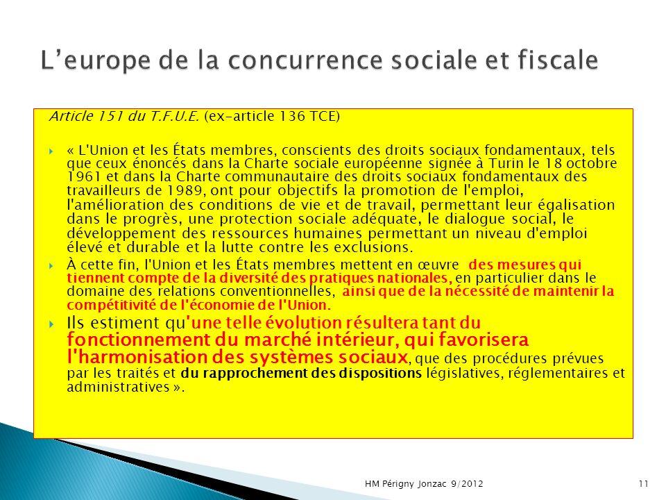 Article 151 du T.F.U.E. (ex-article 136 TCE) « L'Union et les États membres, conscients des droits sociaux fondamentaux, tels que ceux énoncés dans la