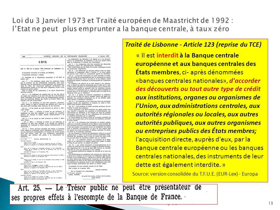 13 Traité de Lisbonne - Article 123 (reprise du TCE) « Il est interdit à la Banque centrale européenne et aux banques centrales des États membres, ci-