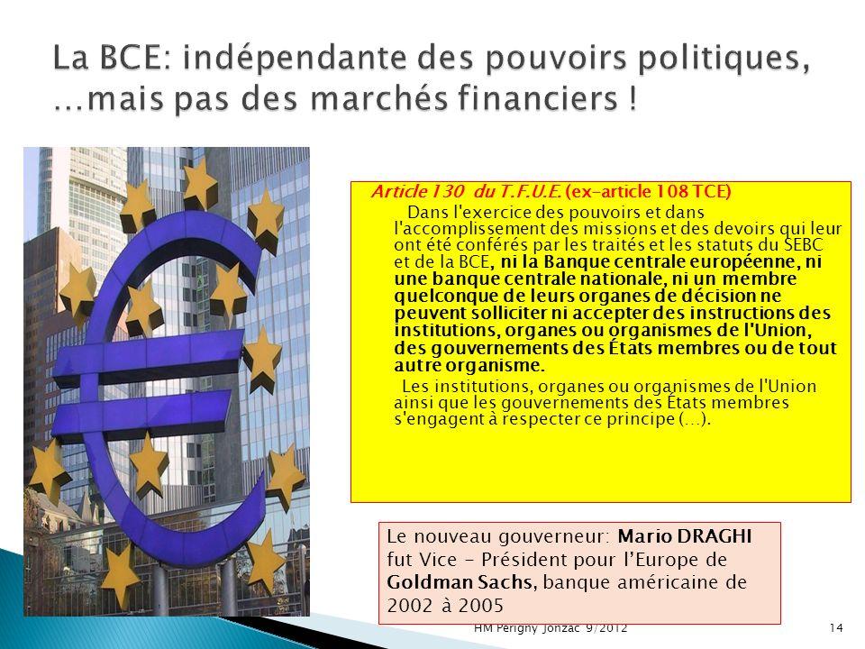 Article 130 du T.F.U.E. (ex-article 108 TCE) Dans l'exercice des pouvoirs et dans l'accomplissement des missions et des devoirs qui leur ont été confé