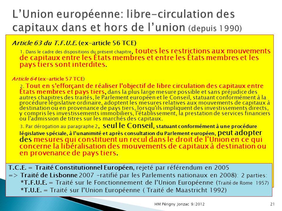 Article 63 du T.F.U.E. (ex-article 56 TCE) 1. Dans le cadre des dispositions du présent chapitre, toutes les restrictions aux mouvements de capitaux e