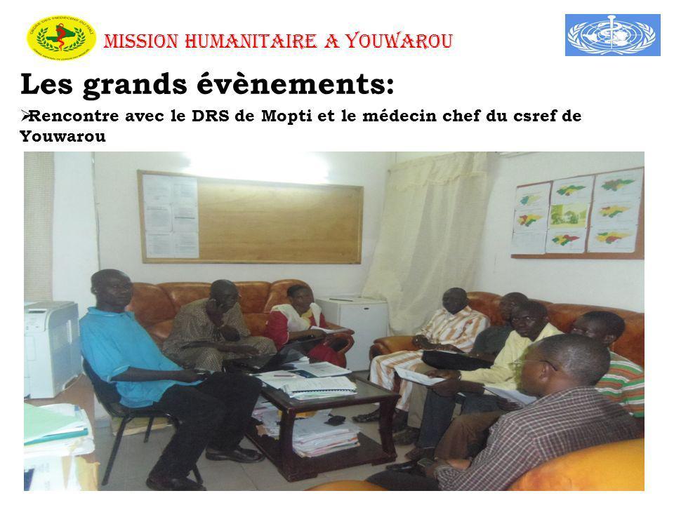 MISSION HUMANITAIRE A YOUWAROU Les grands évènements: Rencontre avec le DRS de Mopti et le médecin chef du csref de Youwarou