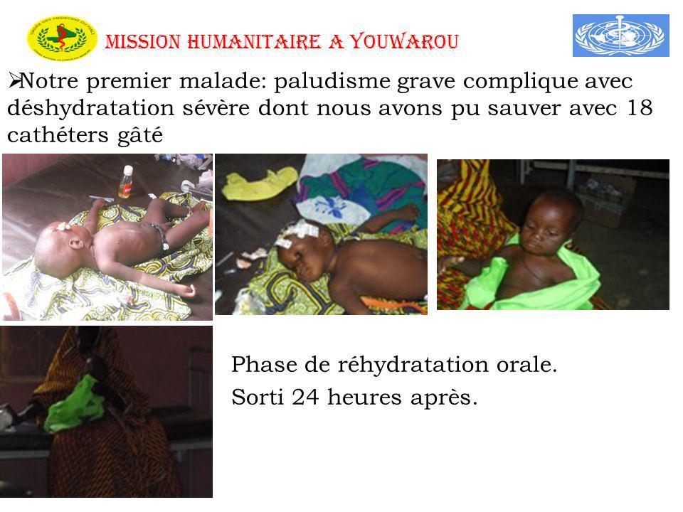 MISSION HUMANITAIRE A YOUWAROU Notre premier malade: paludisme grave complique avec déshydratation sévère dont nous avons pu sauver avec 18 cathéters gâté Phase de réhydratation orale.