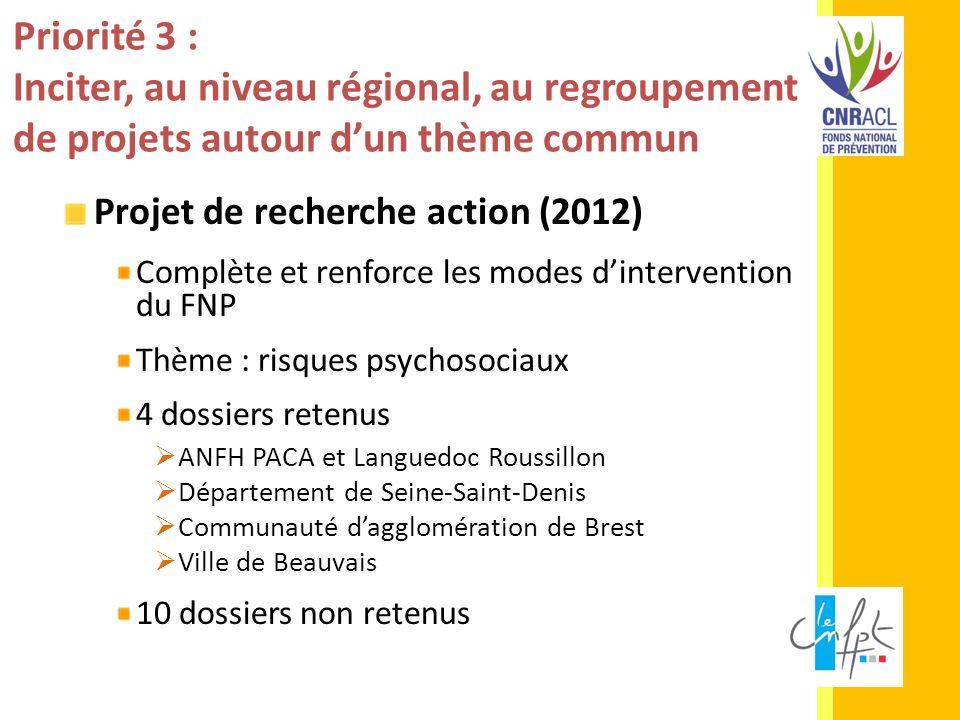 Priorité 3 : Inciter, au niveau régional, au regroupement de projets autour dun thème commun Projet de recherche action (2012) Complète et renforce le
