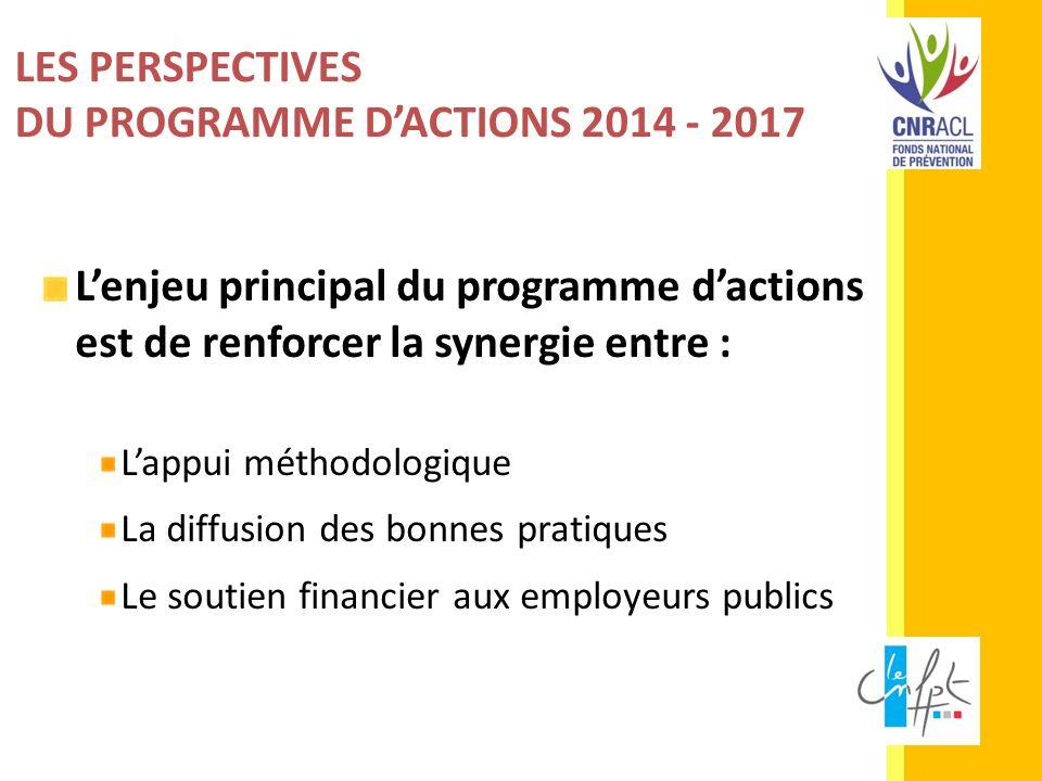 LES PERSPECTIVES DU PROGRAMME DACTIONS 2014 - 2017 Lenjeu principal du programme dactions est de renforcer la synergie entre : Lappui méthodologique L