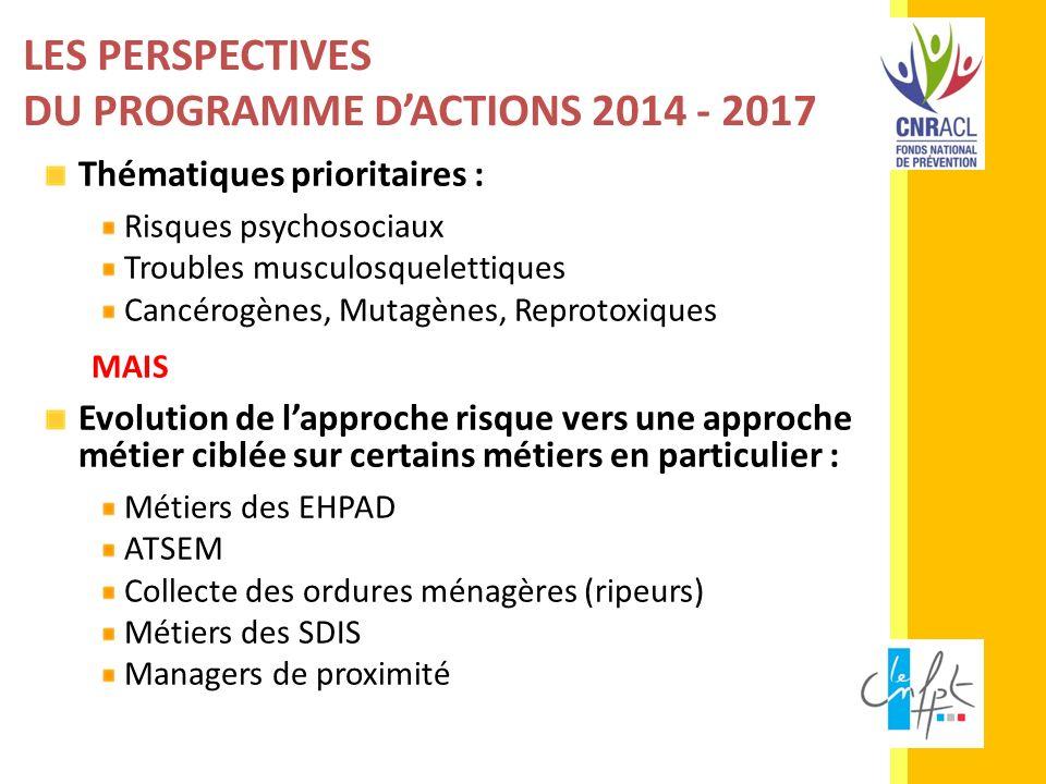 LES PERSPECTIVES DU PROGRAMME DACTIONS 2014 - 2017 Thématiques prioritaires : Risques psychosociaux Troubles musculosquelettiques Cancérogènes, Mutagè