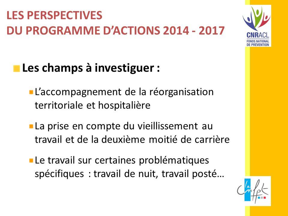 LES PERSPECTIVES DU PROGRAMME DACTIONS 2014 - 2017 Les champs à investiguer : Laccompagnement de la réorganisation territoriale et hospitalière La pri