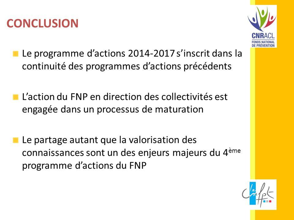 Le programme dactions 2014-2017 sinscrit dans la continuité des programmes dactions précédents Laction du FNP en direction des collectivités est engag