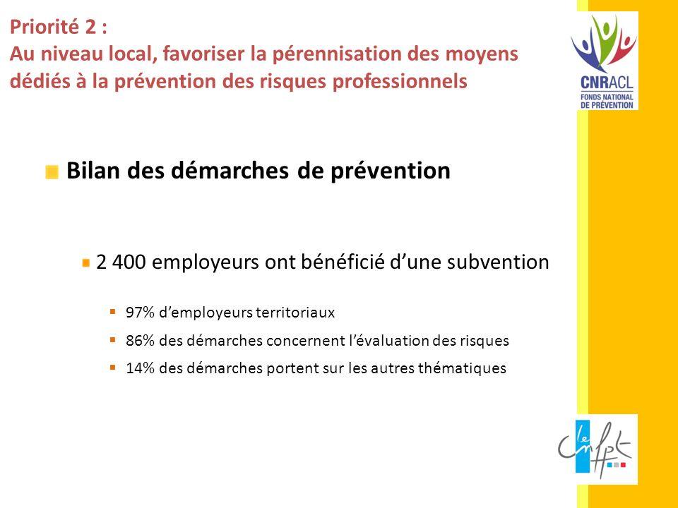 Priorité 2 : Au niveau local, favoriser la pérennisation des moyens dédiés à la prévention des risques professionnels Bilan des démarches de préventio