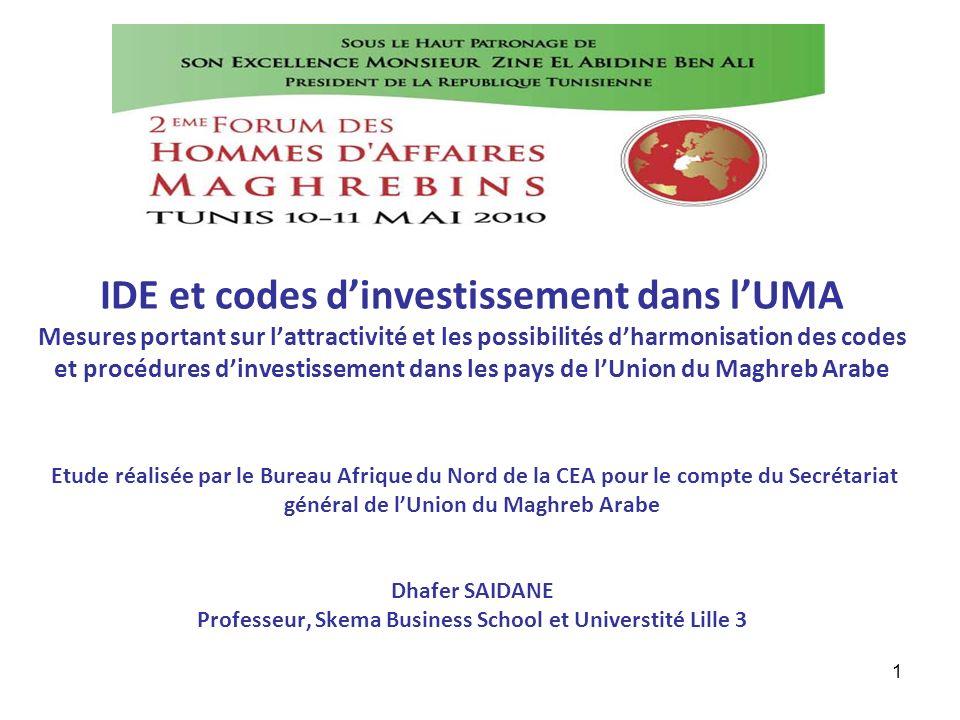 1 IDE et codes dinvestissement dans lUMA Mesures portant sur lattractivité et les possibilités dharmonisation des codes et procédures dinvestissement