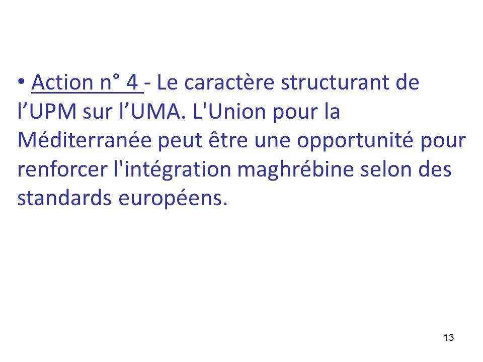 13 Action n° 4 - Le caractère structurant de lUPM sur lUMA. L'Union pour la Méditerranée peut être une opportunité pour renforcer l'intégration maghré
