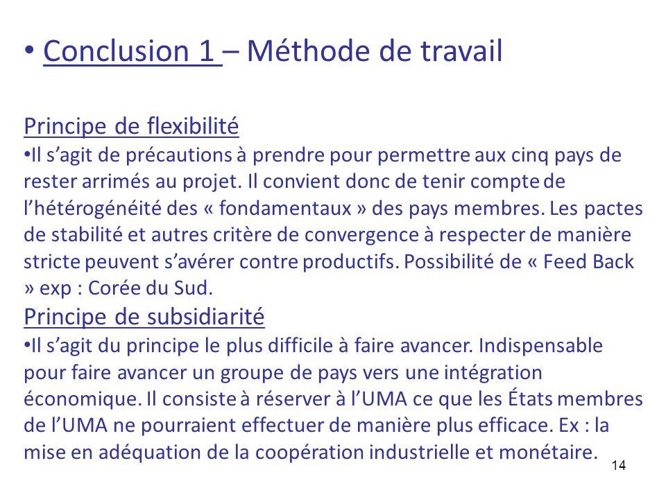 14 Conclusion 1 – Méthode de travail Principe de flexibilité Il sagit de précautions à prendre pour permettre aux cinq pays de rester arrimés au proje