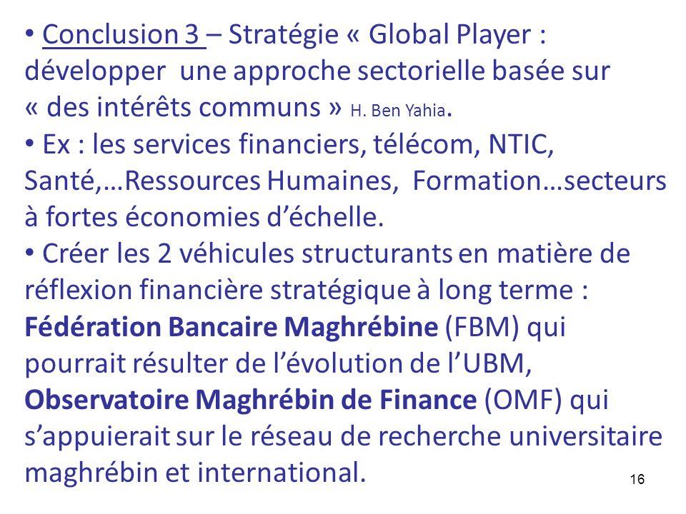 16 Conclusion 3 – Stratégie « Global Player : développer une approche sectorielle basée sur « des intérêts communs » H. Ben Yahia. Ex : les services f
