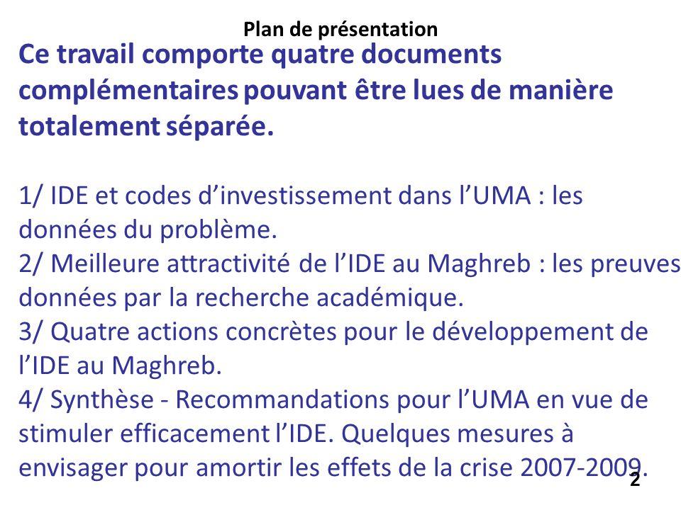 Ce travail comporte quatre documents complémentaires pouvant être lues de manière totalement séparée. 1/ IDE et codes dinvestissement dans lUMA : les