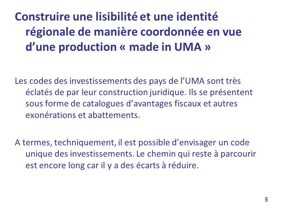 5 Construire une lisibilité et une identité régionale de manière coordonnée en vue dune production « made in UMA » Les codes des investissements des p