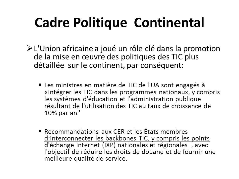 Cadre Politique Continental L'Union africaine a joué un rôle clé dans la promotion de la mise en œuvre des politiques des TIC plus détaillée sur le co