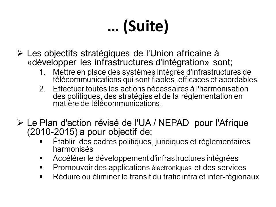 … (Suite) Les objectifs stratégiques de l'Union africaine à «développer les infrastructures d'intégration» sont; 1.Mettre en place des systèmes intégr