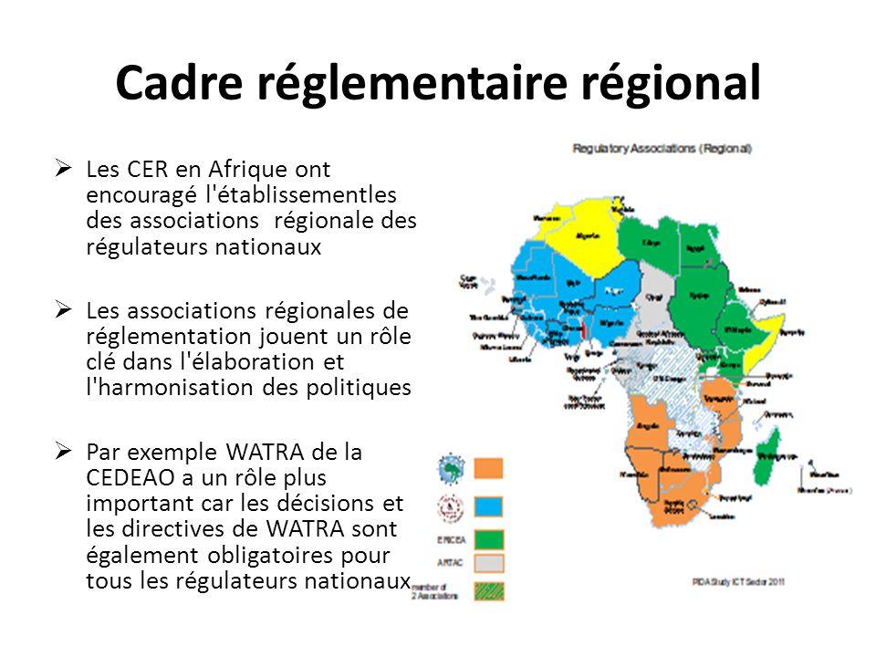 Cadre réglementaire régional Les CER en Afrique ont encouragé l'établissementles des associations régionale des régulateurs nationaux Les associations
