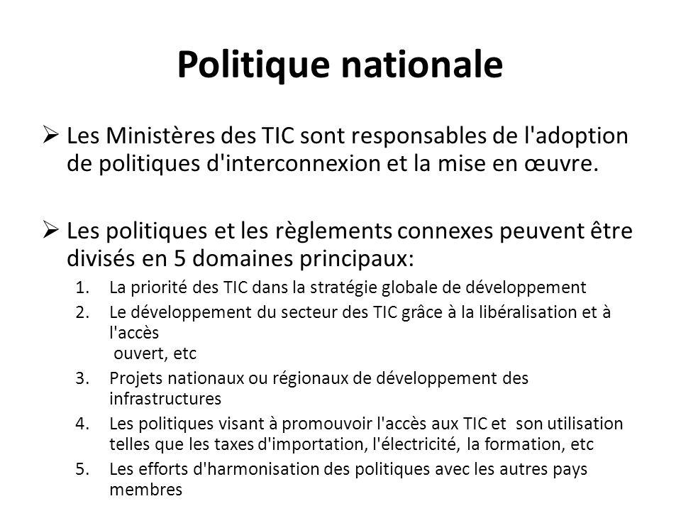 Politique nationale Les Ministères des TIC sont responsables de l'adoption de politiques d'interconnexion et la mise en œuvre. Les politiques et les r