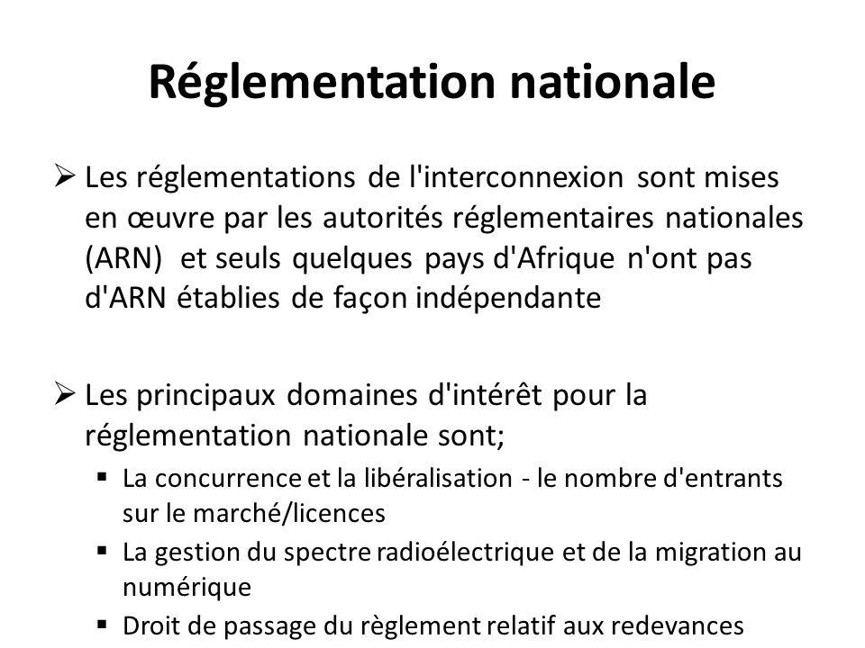 Réglementation nationale Les réglementations de l'interconnexion sont mises en œuvre par les autorités réglementaires nationales (ARN) et seuls quelqu
