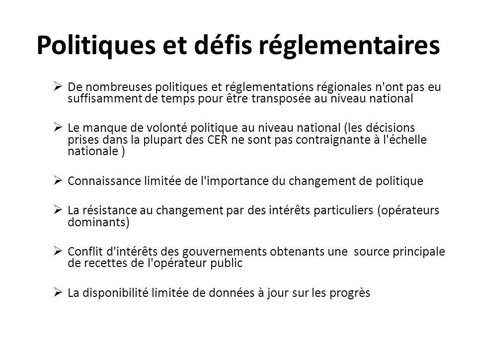 Politiques et défis réglementaires De nombreuses politiques et réglementations régionales n'ont pas eu suffisamment de temps pour être transposée au n
