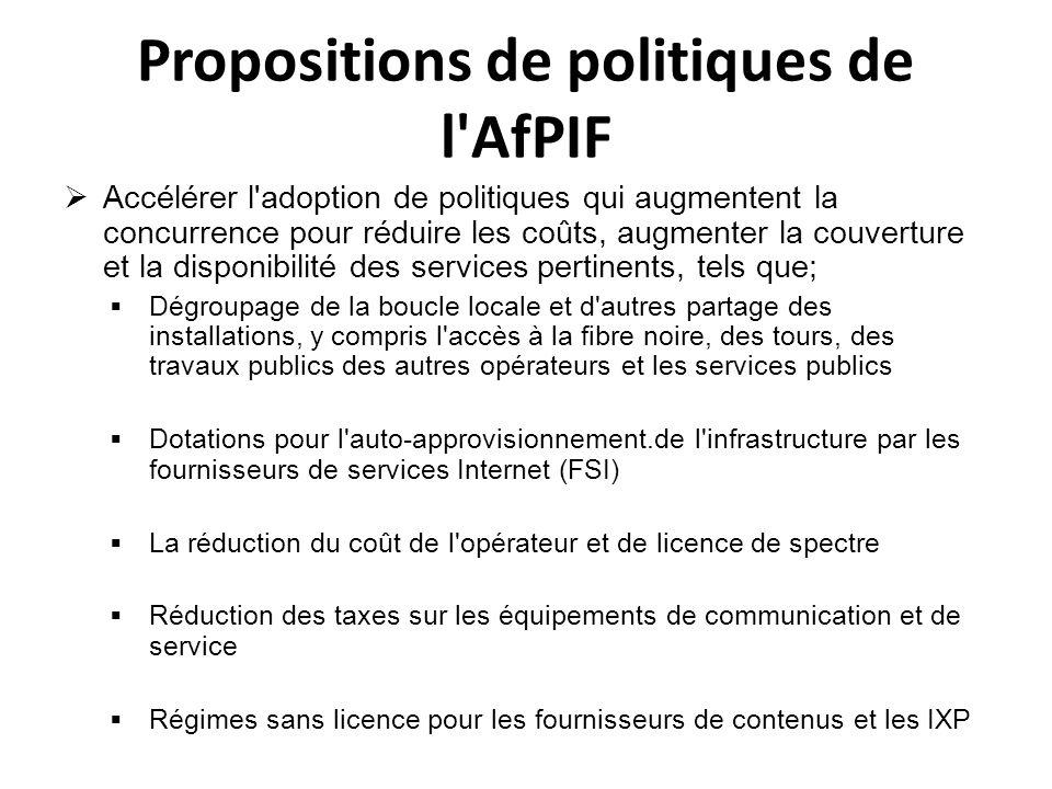 Propositions de politiques de l'AfPIF Accélérer l'adoption de politiques qui augmentent la concurrence pour réduire les coûts, augmenter la couverture