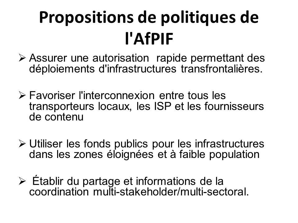 Propositions de politiques de l'AfPIF Assurer une autorisation rapide permettant des déploiements d'infrastructures transfrontalières. Favoriser l'int