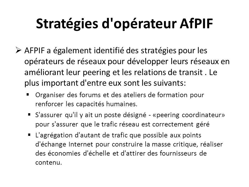 Stratégies d'opérateur AfPIF AFPIF a également identifié des stratégies pour les opérateurs de réseaux pour développer leurs réseaux en améliorant leu
