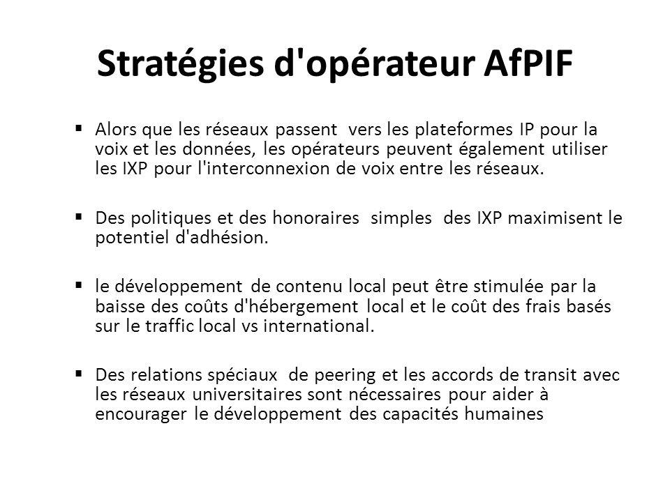 Stratégies d'opérateur AfPIF Alors que les réseaux passent vers les plateformes IP pour la voix et les données, les opérateurs peuvent également utili