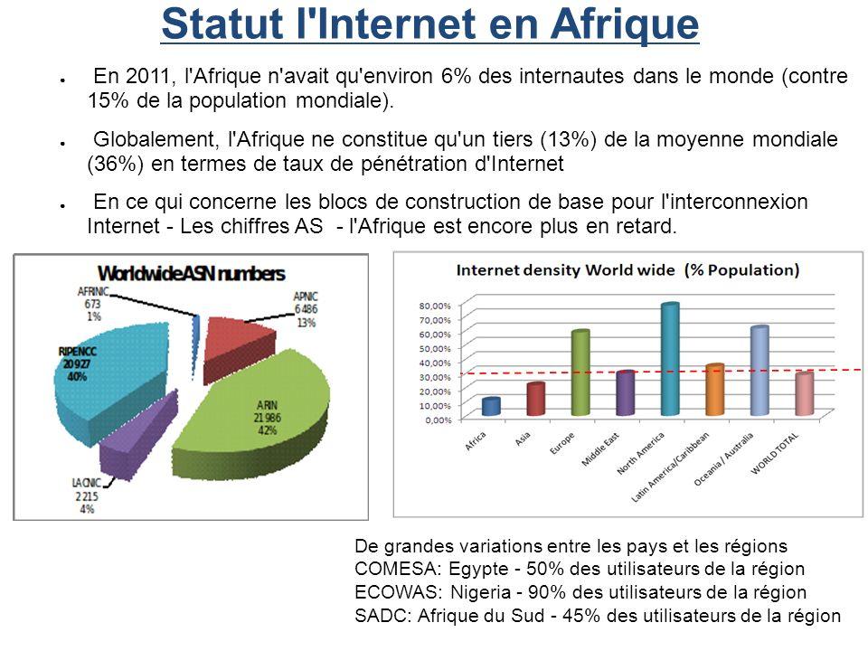 Statut l'Internet en Afrique En 2011, l'Afrique n'avait qu'environ 6% des internautes dans le monde (contre 15% de la population mondiale). Globalemen
