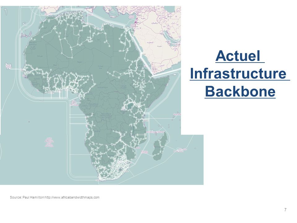 7 Actuel Infrastructure Backbone Source: Paul Hamilton http://www.africabandwidthmaps.com