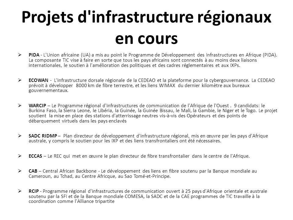 Projets d'infrastructure régionaux en cours PIDA - L'Union africaine (UA) a mis au point le Programme de Développement des Infrastructures en Afrique