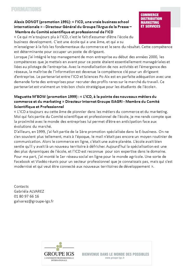 Alexis DONOT (promotion 1991): « lICD, une vraie business school internationale » - Directeur Général du Groupe lArgus de la Presse – Membre du Comité