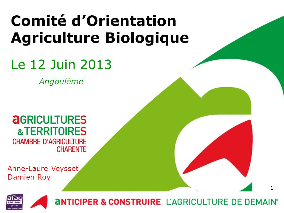 Comité Orientation AB – 12/06/2013 Améliorer laccès aux produits de défense des végétaux, des fertilisants, des semences et une sélection génétique animale adaptée Une amélioration de la réglementation européenne spécifique à la bio (révision du cahier en cours) 12 Axe n°6 : Adapter la réglementation