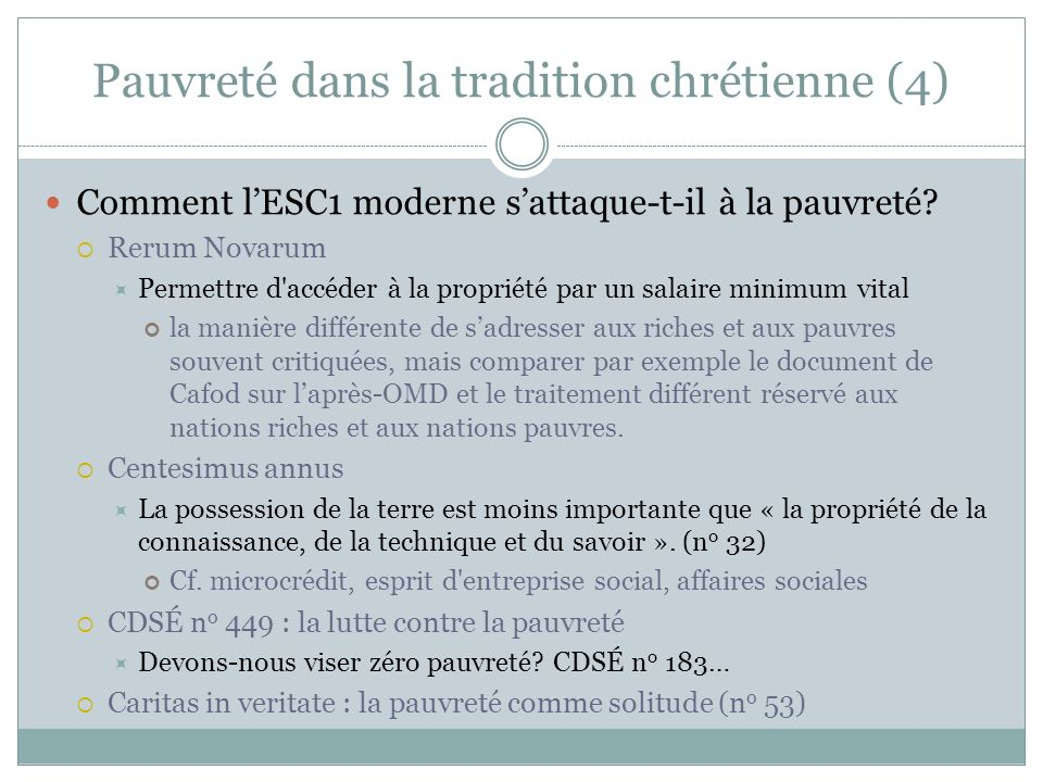 Pauvreté dans la tradition chrétienne (4) Comment lESC1 moderne sattaque-t-il à la pauvreté.