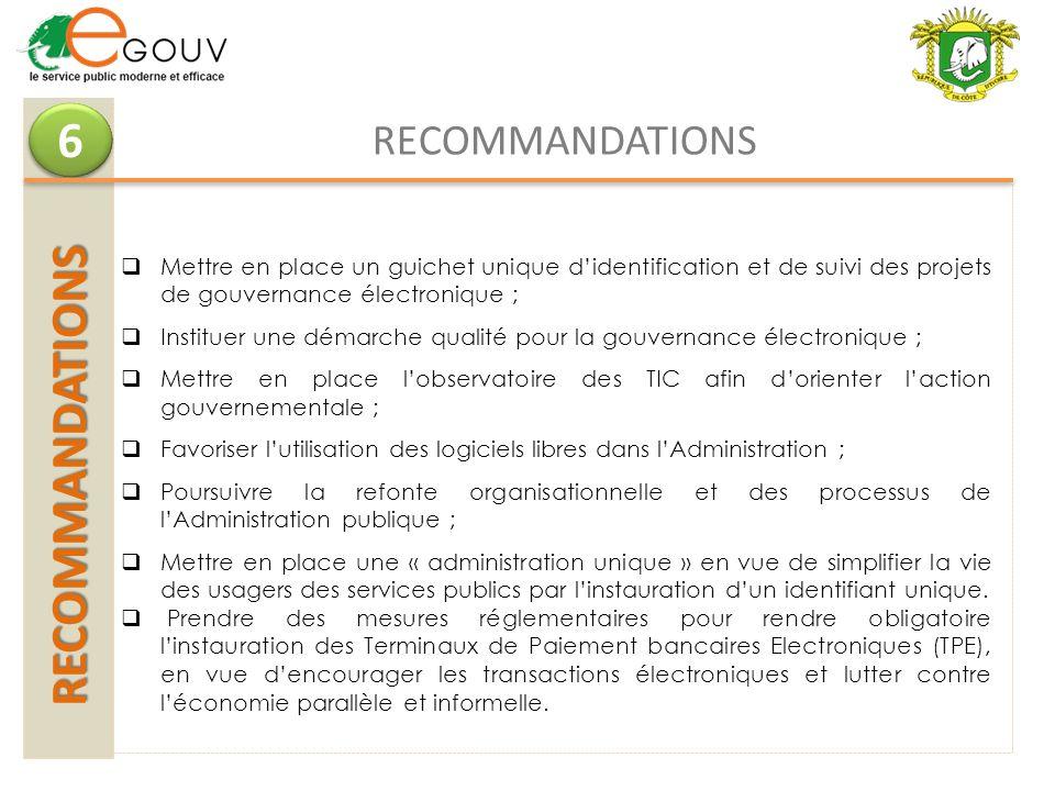 RECOMMANDATIONS RECOMMANDATIONS 6 6 RECOMMANDATIONS Mettre en place un guichet unique didentification et de suivi des projets de gouvernance électroni