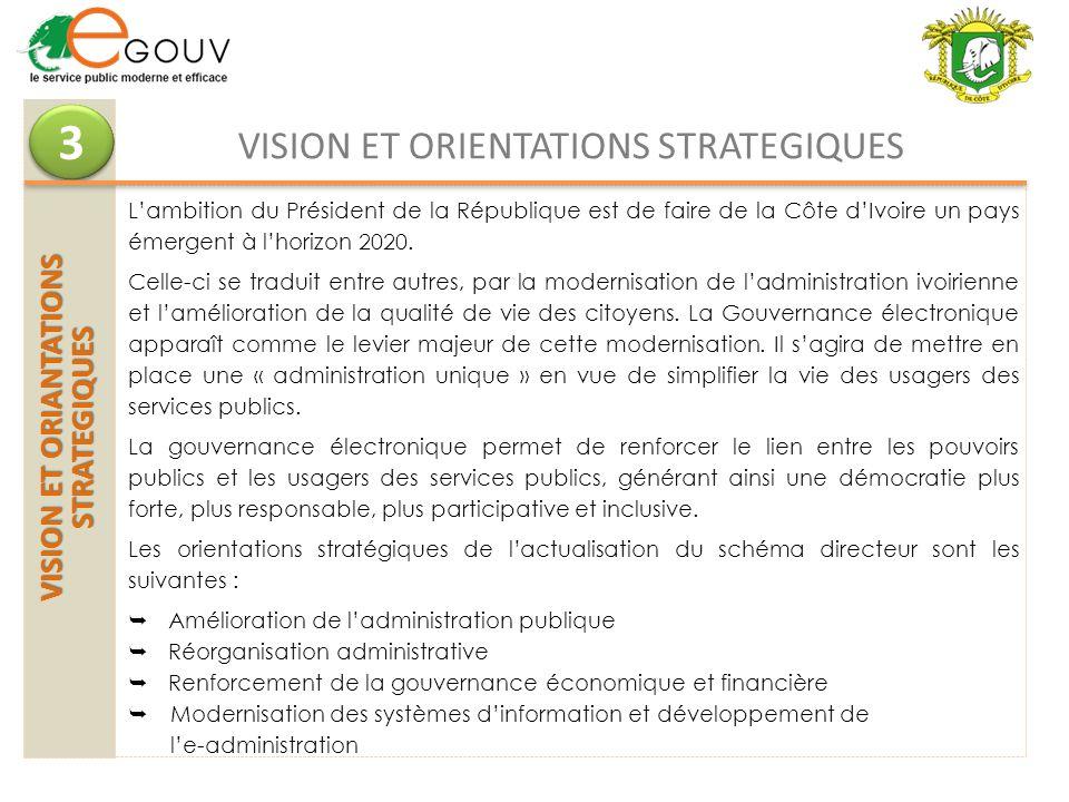 VISION ET ORIANTATIONS STRATEGIQUES 3 3 VISION ET ORIENTATIONS STRATEGIQUES Lambition du Président de la République est de faire de la Côte dIvoire un