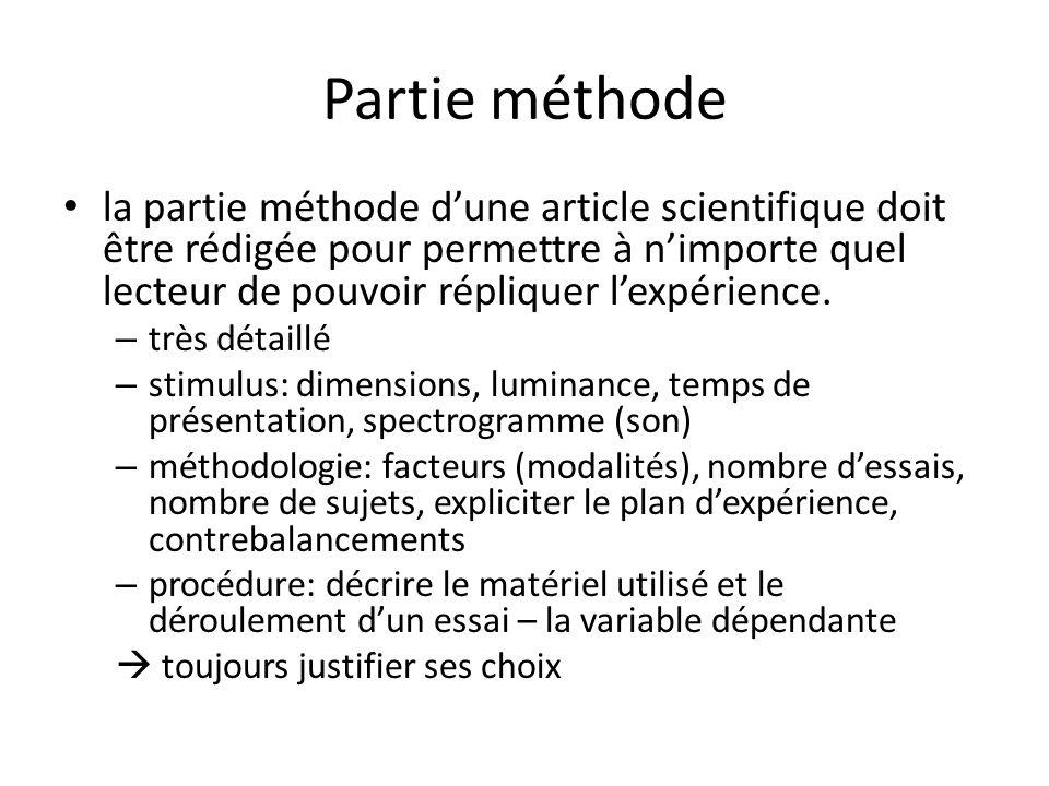 Partie méthode la partie méthode dune article scientifique doit être rédigée pour permettre à nimporte quel lecteur de pouvoir répliquer lexpérience.